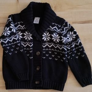 2T Carter's Black&White Cable Knit Cowlneck Sweate